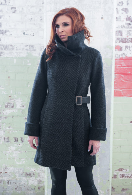 high collar merino and virgin wool gray coat