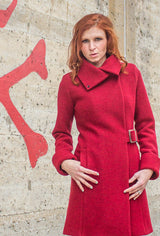 Red women's boiled wool coat with buckle