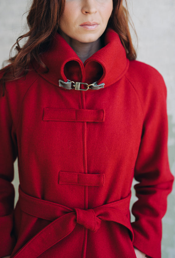 cherry red wool coat by denovo