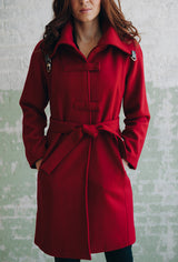 CROSSBAR RAGLAN COAT Red Melton