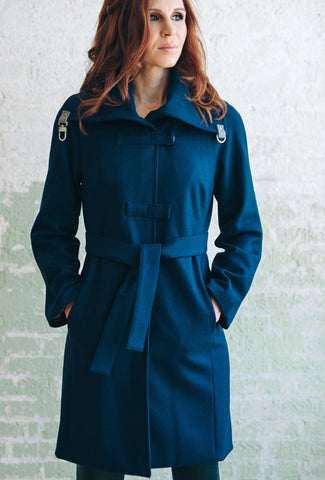 CROSSBAR RAGLAN COAT Navy Melton