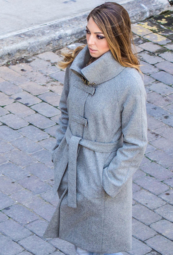 gray wool melton coat with back cross detail