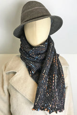 gray scarf with color yarns