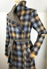 plaid asymmetrical winter coat