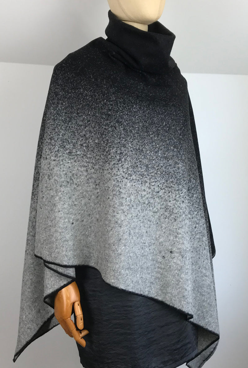 cowl collar ombre pattern poncho
