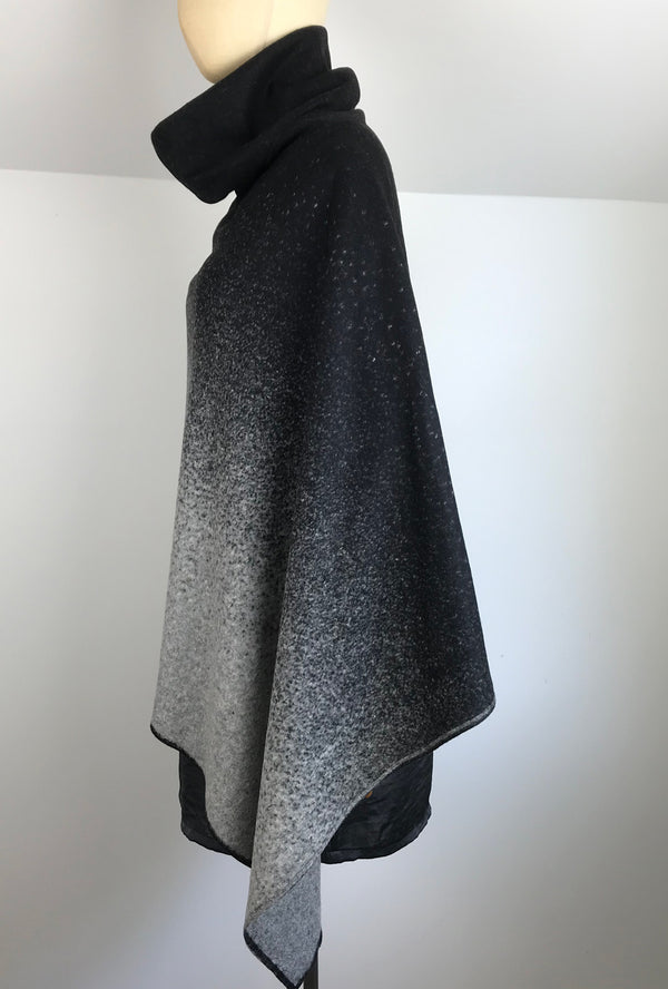 black to light ombre poncho