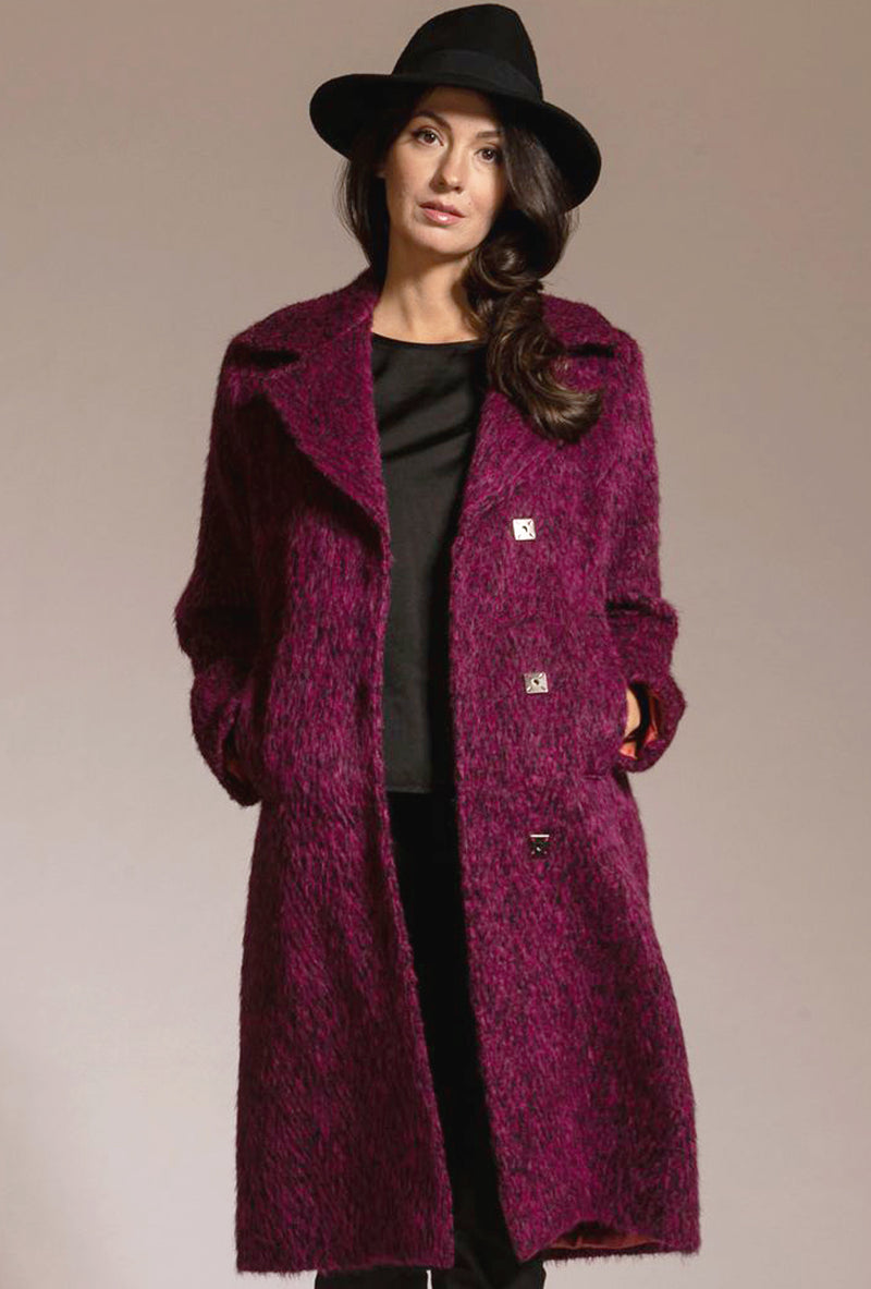 fuchsia black alpaca women's trench coat by denovo