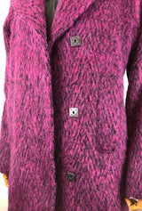 square snaps on fuchsia winter coat