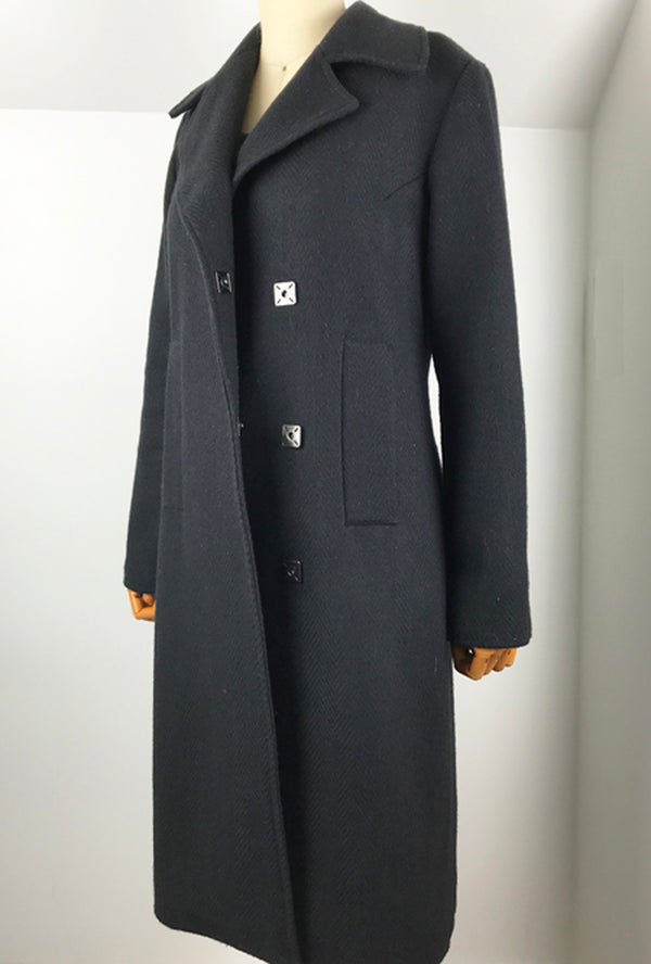 black wool winter trench coat