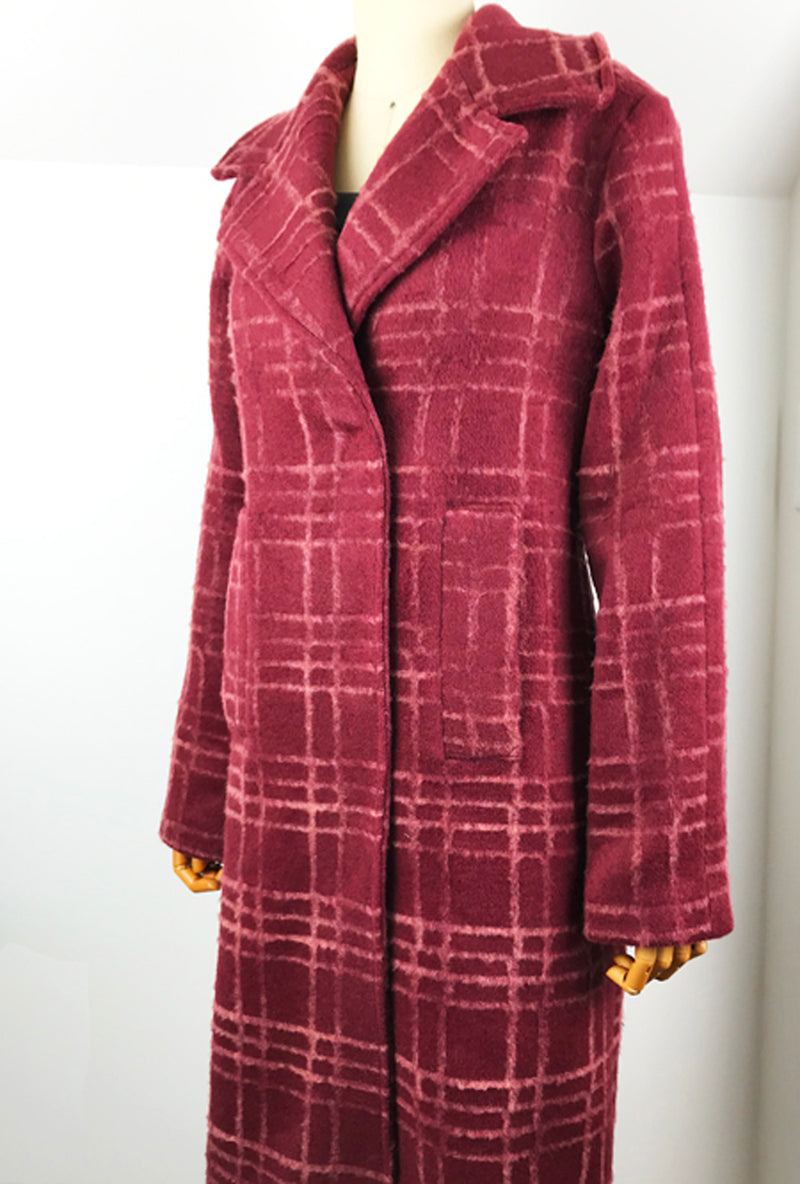 burgundy flocked wool winter coat