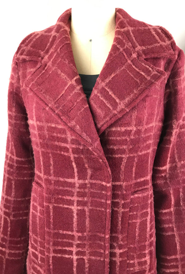 burgundy flocked wool plaid coat by denovo