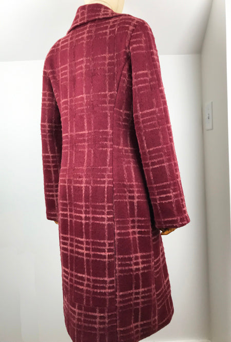 back of women's flocked wool coat