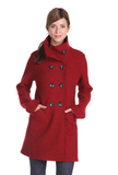 Women's red boiled wool trench coat