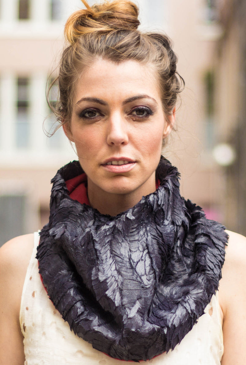 black feather faux fur textured scarf neckwear