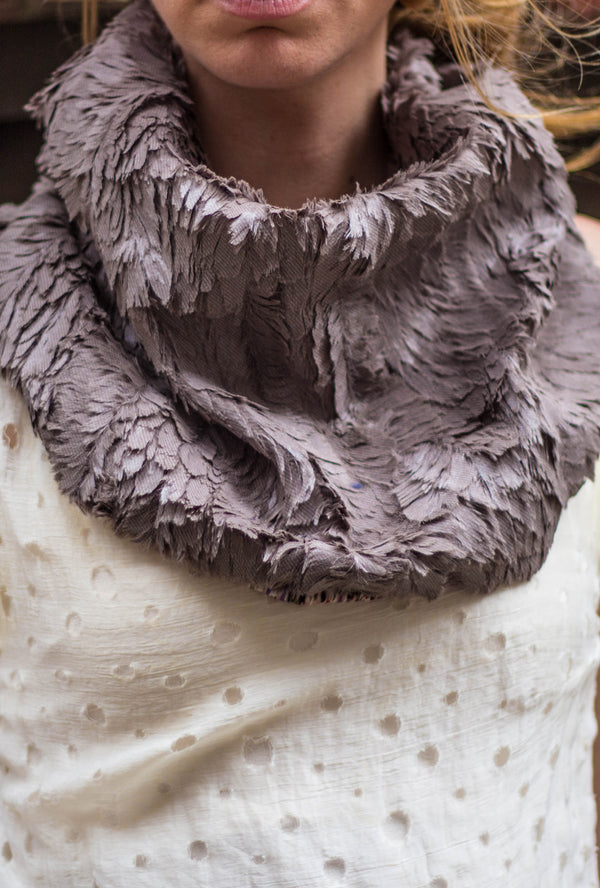 gray faux feather fur scarf