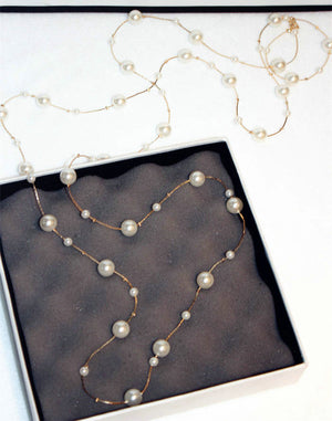 Double layers simulated pearl long necklace