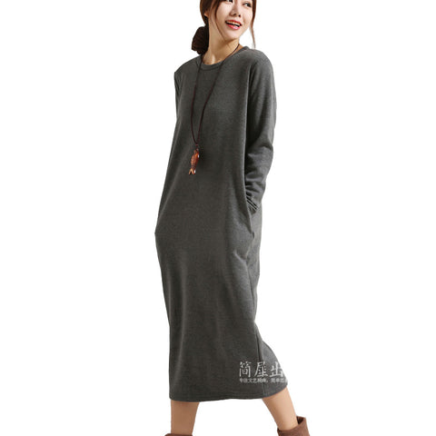 SERENELY Winter Dress Vestidos Velvet Thickening Thermal Basic Dress Long Sleeve - almaj A touch of Class - 3