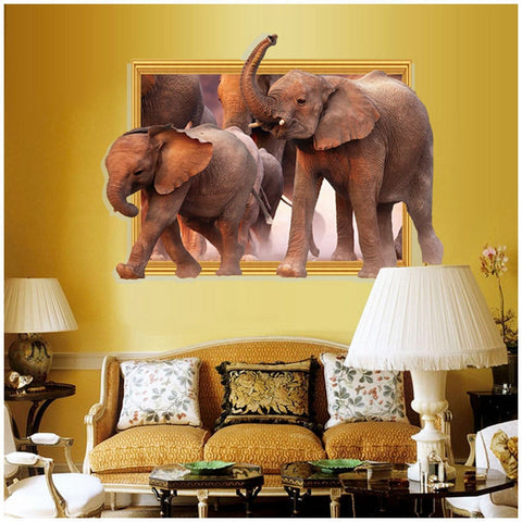 New Arrival 3D Wall Stickers African Elephant Stickers Removable Diy Vinyl Quote Home Decoration - almaj A touch of Class