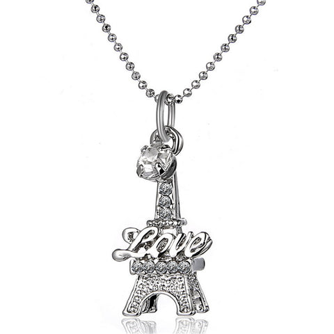 Eiffel Tower Clavicle Necklace engraved Love Pendants - almaj A touch of Class