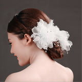 2  pcs Large white chiffon bride head flower hair clip - almaj A touch of Class - 1