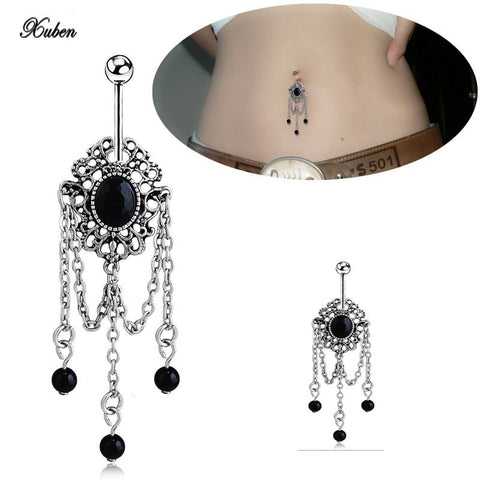 black Rhinestone Tassels Dangle Barbell Body Piercing Belly Navel Bar
