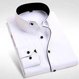 Men's Fashion  Long Sleeve Turn Down Collar casual shirts - almaj A touch of Class - 1