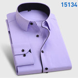 Men's Fashion  Long Sleeve Turn Down Collar casual shirts - almaj A touch of Class - 2