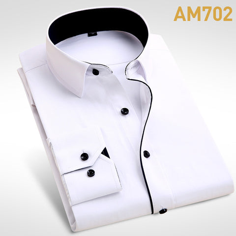 Men's Fashion  Long Sleeve Turn Down Collar casual shirts - almaj A touch of Class - 3