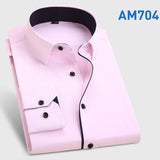 Men's Fashion  Long Sleeve Turn Down Collar casual shirts - almaj A touch of Class - 6