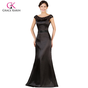 Black Grace Karin Lace Backless Long Satin Evening Gowns Formal Dress 7533