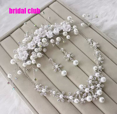 Newest  Handmade Wedding Jewelry Crystal Rhinestone Imitate Pearl Flower Necklace Earring Headpiece Set