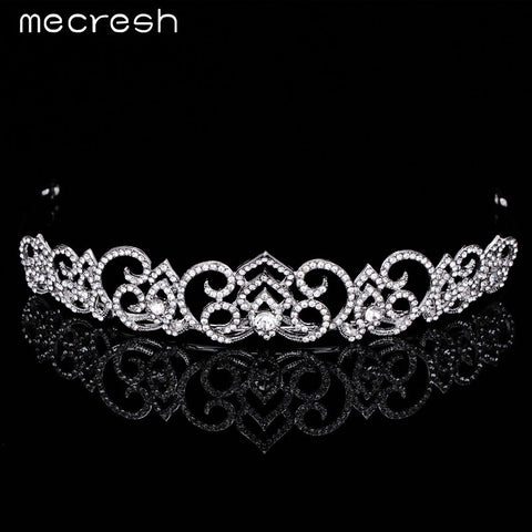 Mecresh Newest Flower-shape Crystal Bridal Tiara Crown Gorgeous Silver Plated