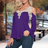 ZANZEA Blouses Off Shoulder Lace V Neck Long Sleeve - almaj A touch of Class - 4