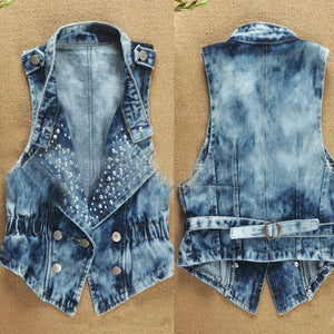 Faroonee Denim Vest Sleeveless Cardigan Washed Sequin Rivet Studs - almajvirtualsolutions - A touch of Class
