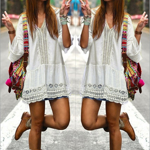 Boho Style White V Neck 3/4 Flare Sleeve Lace Crochet Loose Mini Beach Dresses
