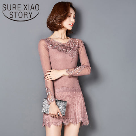 Long Sleeve  Lace Slim O-neck Blouse 589A 30