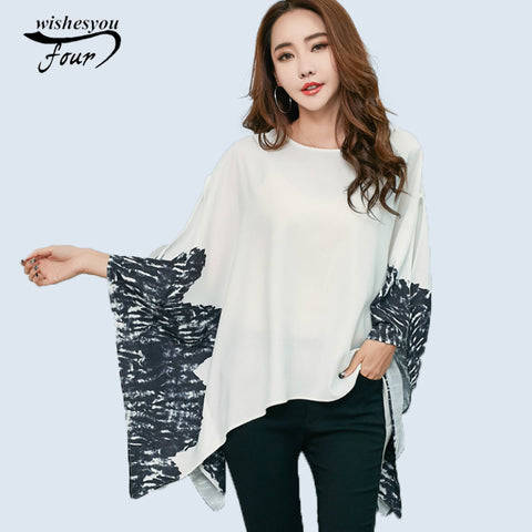 2017 summer new casual loose printing Europe and South Korea large size women blouse tops fashion wholesale cloak shirt  60H 30