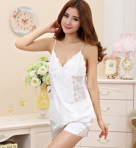 Lace Sleeveless Pajama Set V-neck - almaj A touch of Class - 1