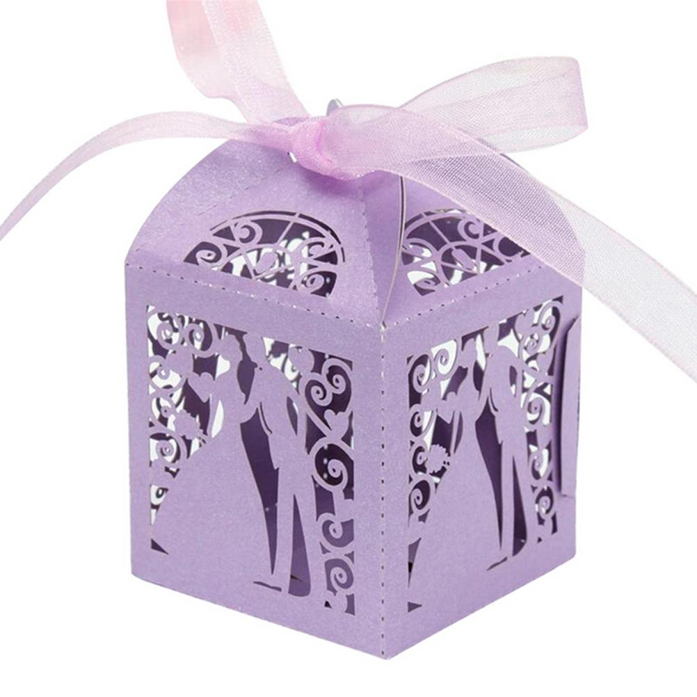 50Pcs/set bride and groom Shape  Gift Favor Boxes With Ribbon 5 Colors