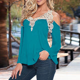 ZANZEA Blouses Off Shoulder Lace V Neck Long Sleeve - almaj A touch of Class - 2
