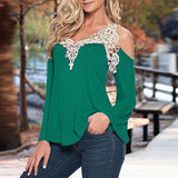 ZANZEA Blouses Off Shoulder Lace V Neck Long Sleeve - almaj A touch of Class - 17