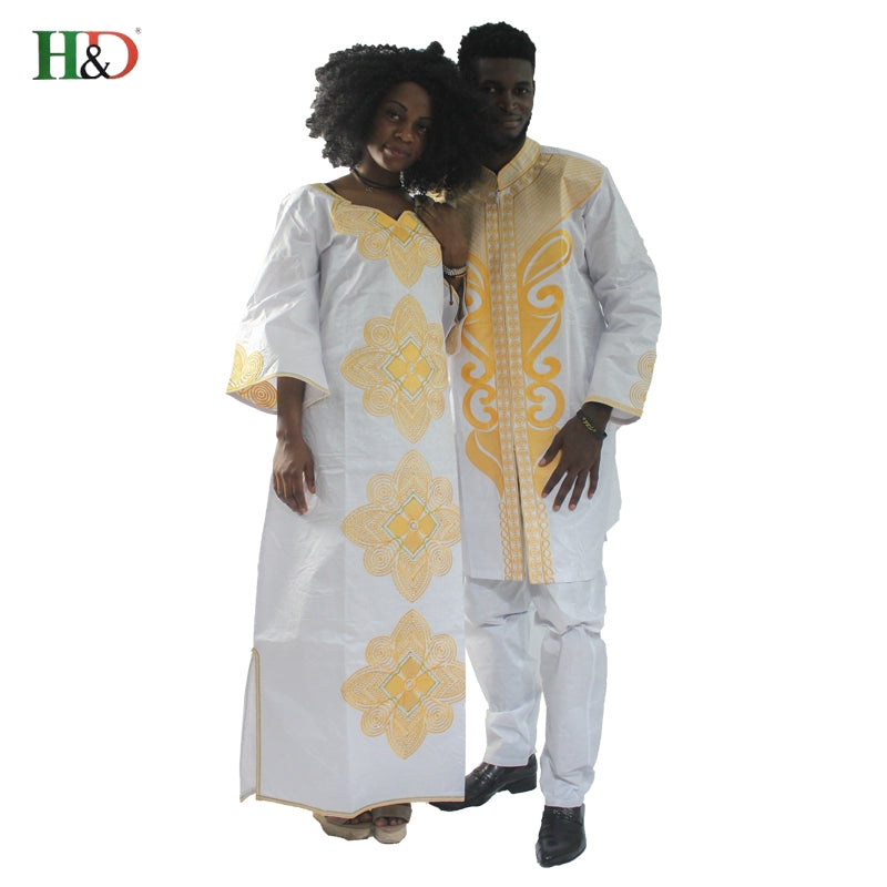 H&D men and women costume bazin riche embroidery design Dashiki robe
