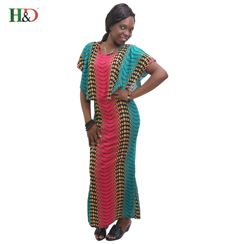 H&D design 100% cotton bazin printed dashiki cloak style