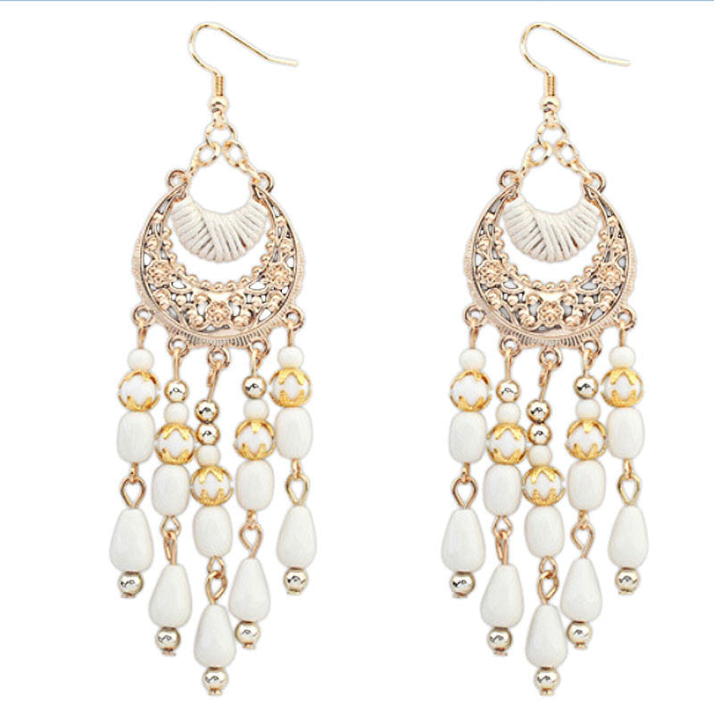 Bohemian Fringed Long Section Of Big Beads Pendant Drop Earrings BK