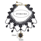 Gothic Victorian Crystal Tassel Tattoo Choker Necklace Black Lace Collar - almaj A touch of Class - 6
