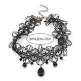 Gothic Victorian Crystal Tassel Tattoo Choker Necklace Black Lace Collar - almaj A touch of Class - 4