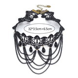 Gothic Victorian Crystal Tassel Tattoo Choker Necklace Black Lace Collar - almaj A touch of Class - 5