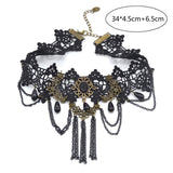 Gothic Victorian Crystal Tassel Tattoo Choker Necklace Black Lace Collar - almaj A touch of Class - 7