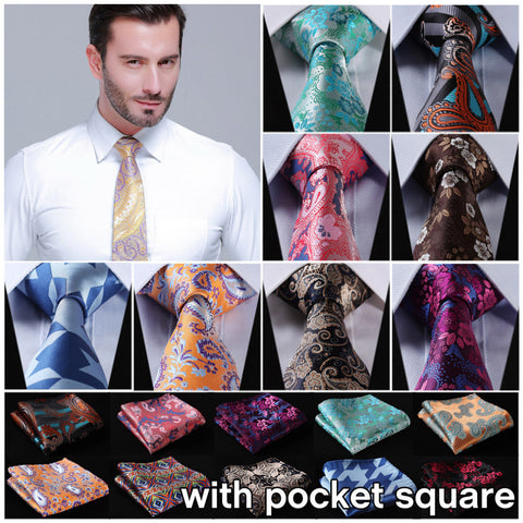 "3.4"" 100% Silk Neckties w/Pocket Square Handkerchief - almajvirtualsolutions - A touch of Class"