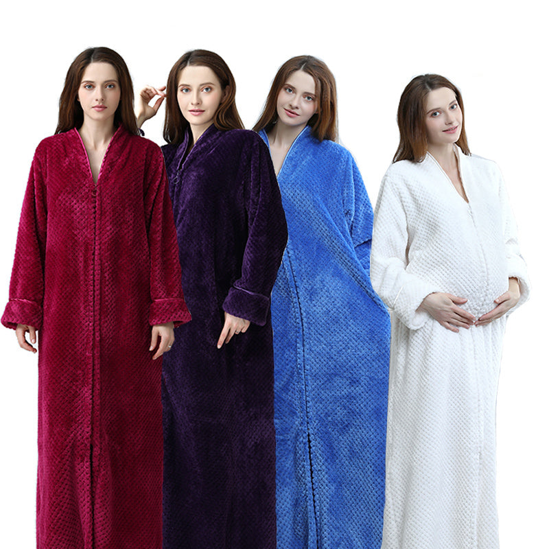 Thermal Long Bathrobe Thick Flannel